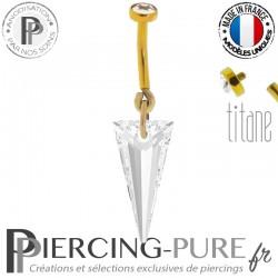 Piercing Nombril Titane doré interne Spike blanc