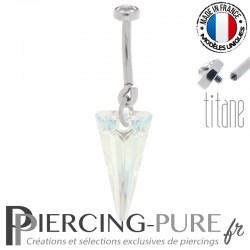 Piercing Nombril Titane doré interne Spike crystal shimmer