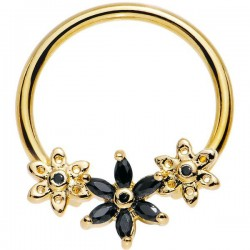 Anneau de Piercing fleurs de Cristaux noirs