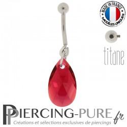 Piercing Nombril Titane interne Poire Rubis