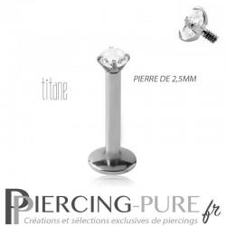 Piercing labret titane interne avec cristal griffé 2,5mm blanc