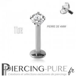 Piercing labret titane interne avec cristal griffé 4mm blanc
