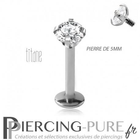 Piercing labret titane interne avec cristal griffé 5mm blanc