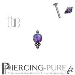 Piercing labret titane interne opale violette et microbilles