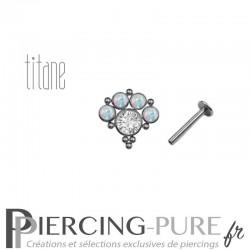 Piercing labret titane interne opales blanches et microbilles