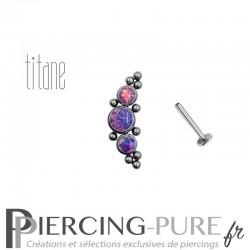 Piercing labret titane interne trois opales violette et microbilles