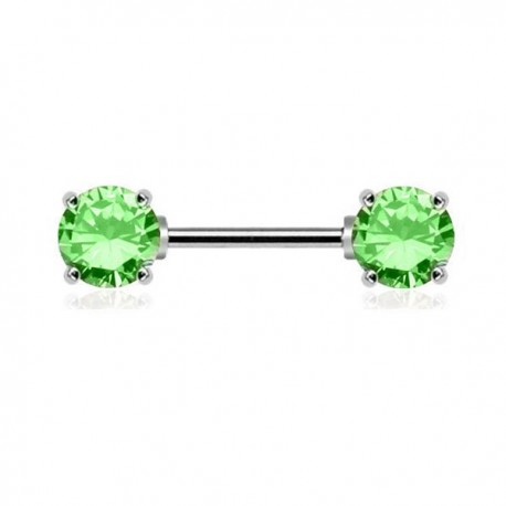 Piercing Téton Cristaux ronds verts griffés
