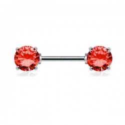 Piercing Téton Cristaux ronds rouges griffés
