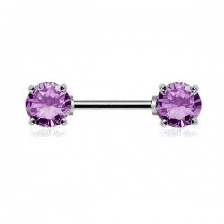 Piercing Téton Cristaux ronds violets griffés