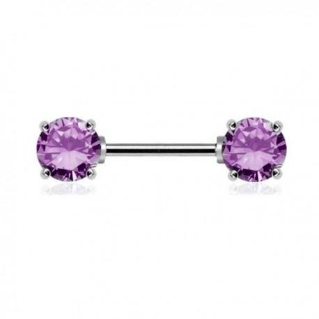 Piercing Téton Cristaux ronds violets griffés