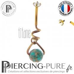 Piercing Nombril Titane interne Doré rose et bille turquoise avec cristal griffé