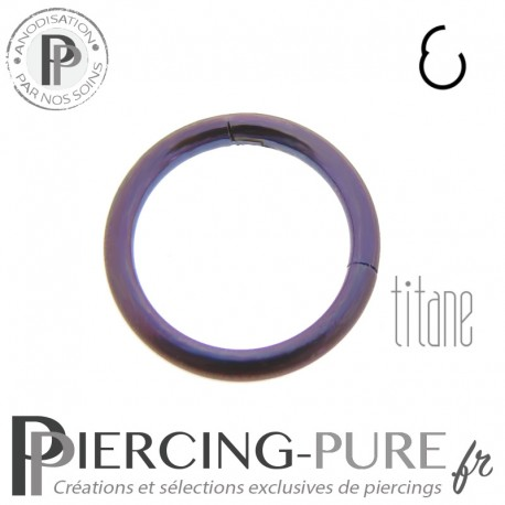 Anneau Titane clicker anodisé violet - 1,2x8mm