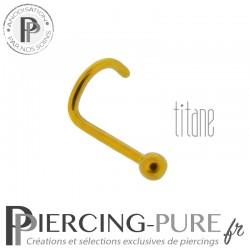 Piercing Nez Titane Doré Bille 2mm