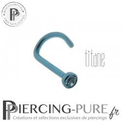 Piercing Nez Titane Bleu Cristal bleu clos