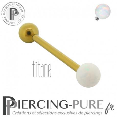 Piercing Langue Titane doré interne opale blanche 5mm