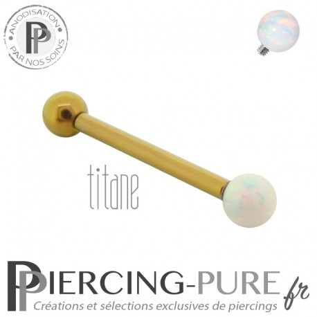 Piercing Langue Titane doré interne opale blanche 4mm
