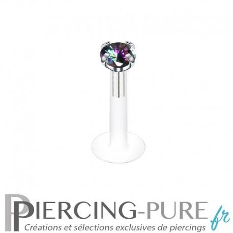 Piercing Labret Brillant rond cristal vitrail medium griffé 2 tailles