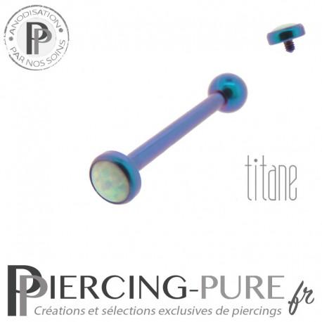 Piercing Langue Titane Blurple Opale blanche 4mm