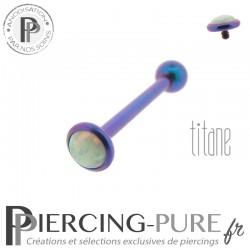 Piercing Langue Titane Blurple Opale blanche 5mm