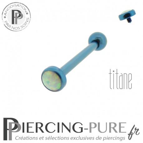 Piercing Langue Titane bleu Opale blanche 4mm