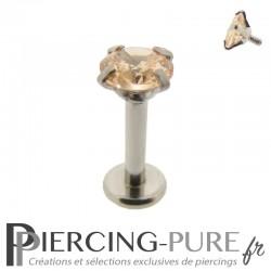 Piercing Tragus - Cartilage cristal orange clair griffé 4mm
