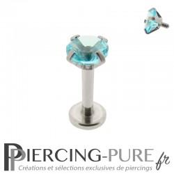 Piercing Tragus - Cartilage cristal turquoise griffé 4mm