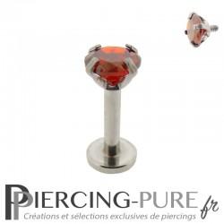 Piercing Tragus - Cartilage cristal rouge griffé 4mm