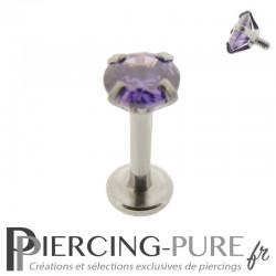 Piercing Tragus - Cartilage cristal violet griffé 4mm