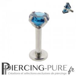 Piercing Tragus - Cartilage cristal bleu foncé griffé 4mm