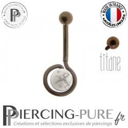 Piercing Nombril Titane Howlite Dark Bronze