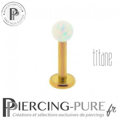 Piercing labret titane interne doré bille opale blanche 3mm
