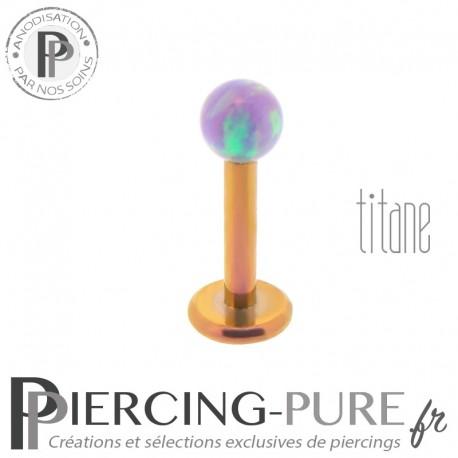 Piercing labret titane interne doré rose bille opale violette 3mm