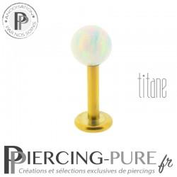 Piercing labret titane interne doré bille opale blanche 4mm