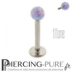 Piercing labret titane interne bille opale violette 3mm