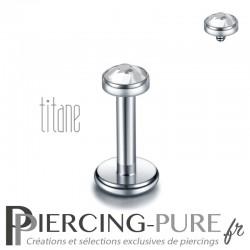 Piercing labret titane pierre clos blanche 3mm