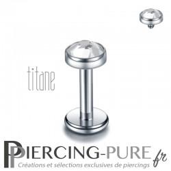 Piercing labret titane pierre clos blanche 4mm