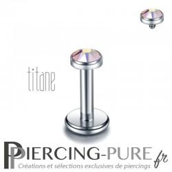 Piercing labret titane pierre clos irisée 3mm
