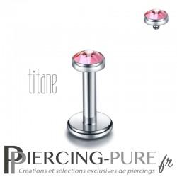Piercing labret titane pierre clos rose 3mm