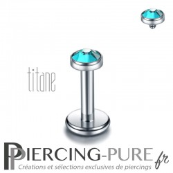 Piercing labret titane pierre clos bleu zircon 3mm