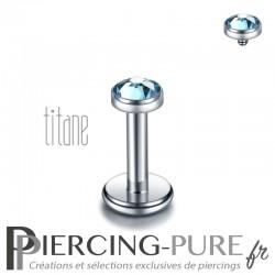 Piercing labret titane pierre clos bleue 3mm