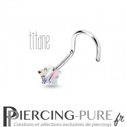 Piercing Nez Titane étoile irisée griffée