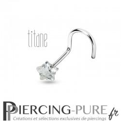 Piercing Nez Titane étoile blanche griffée
