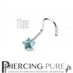 Piercing Nez Titane étoile bleue griffée