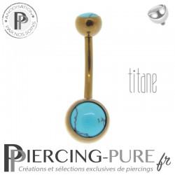 Piercing Titane interne Bronze et Turquoises