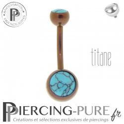 Piercing Titane interne Dark Bronze et Turquoises