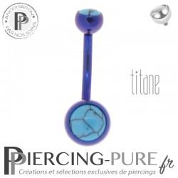 Piercing Titane interne Violet et Turquoises naturelles