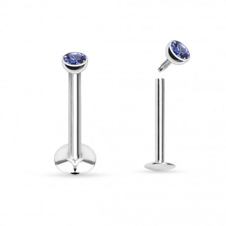 Piercing Labret Acier strass bleu