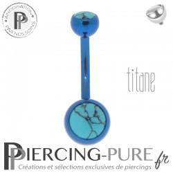 Piercing Titane interne Bleu foncé et Turquoises naturelles