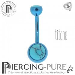 Piercing Titane interne Bleu et Turquoises naturelles