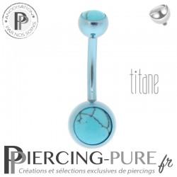 Piercing Titane interne Bleu clair et Turquoises naturelles